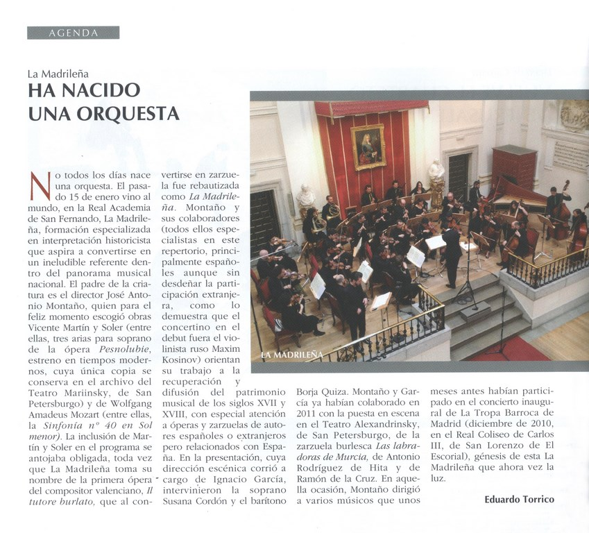 La Madrileña. Ha nacido una orquesta Revista Scherzo Febrero 2016 Eduardo Torrico