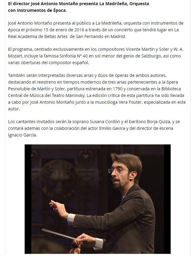 Beckmesser El director José Antonio Montaño presenta La Madrileña, Orquesta con Instrumentos de Época