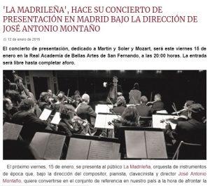 """Codalario - """"La Madrileña"""" hace su concierto de presentación en Madrid bajo la dirección de José Antonio Montaño"""