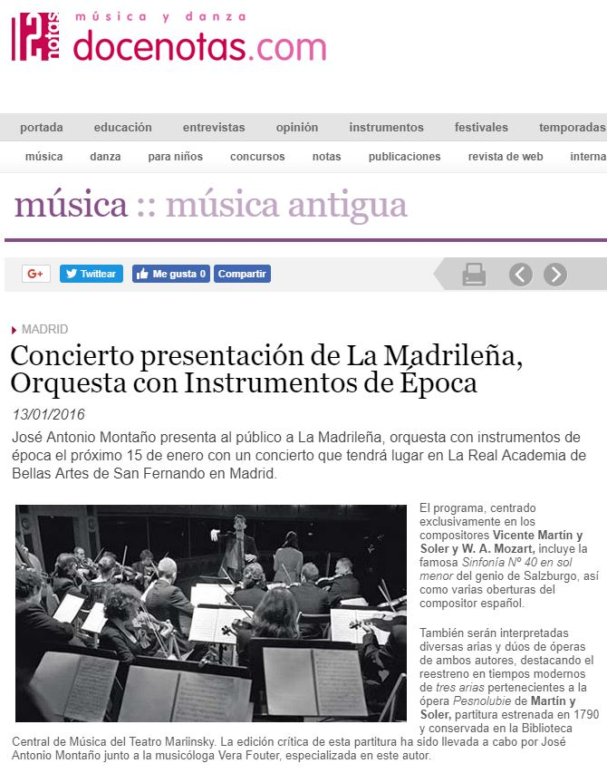 Docenotas - Concierto presentación de La Madrileña, Orquesta con Instrumentos de Época