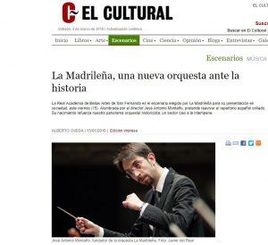 El Cultural de El Mundo. La Madrileña, una nueva orquesta ante la historia por Alberto Ojeda
