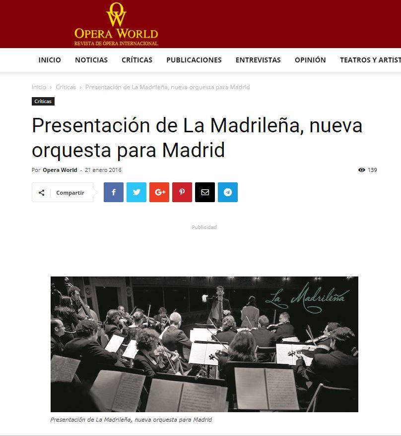 Opera World Presentación de La Madrileña, nueva orquesta para Madrid Francisco García Rosado