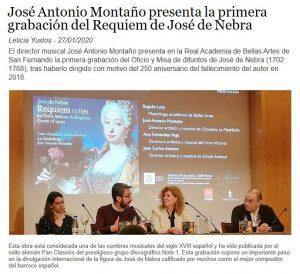 Docenotas José Antonio Montaño presenta la primera grabación del Requiem de José de Nebra