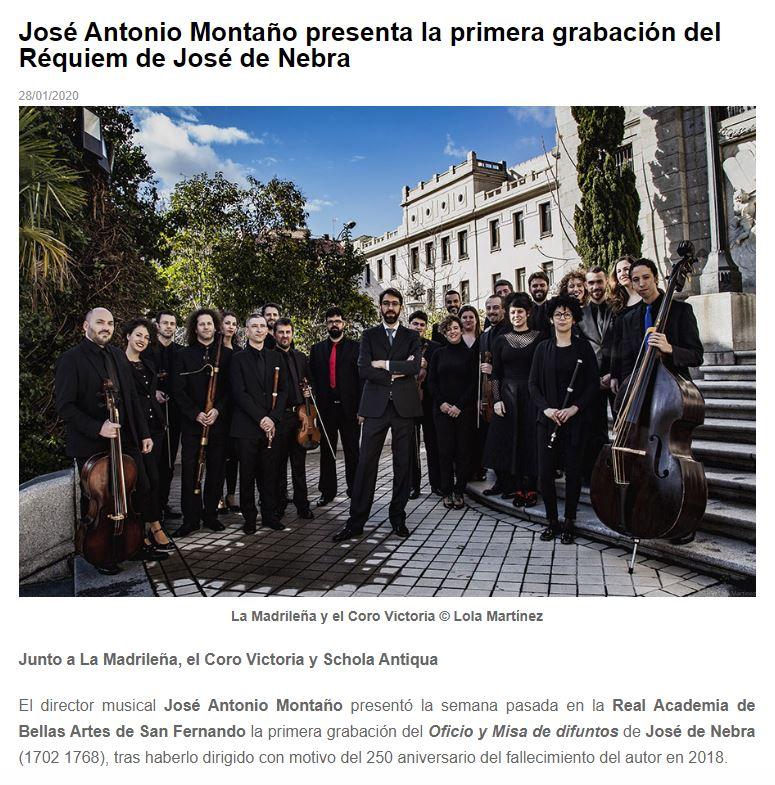Melómano José Antonio Montaño presenta la primera grabación del Réquiem de José de Nebra
